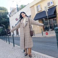 格子大衣女中长款韩版2018新款秋冬时尚气质复古呢子外套 格子 X