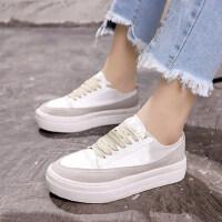 学生休闲板鞋女 韩版百搭透气小白鞋 新款帆布鞋女鞋 时尚系带白鞋布鞋