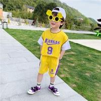 【2件2折】左西童装男童夏装套装儿童纯棉短袖运动男孩中大童夏天2021新款潮