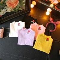 女童打底衫秋季新款宝宝甜美刺绣爱心半高领可爱长袖T恤百搭