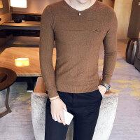 男士长袖T恤秋季针织打底衫潮体恤韩版修身线衣男装秋衣薄款毛衣