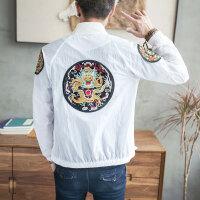 夏季男士夹克韩版防晒衣棒球服外套龙袍刺绣中国风男装潮2017新款
