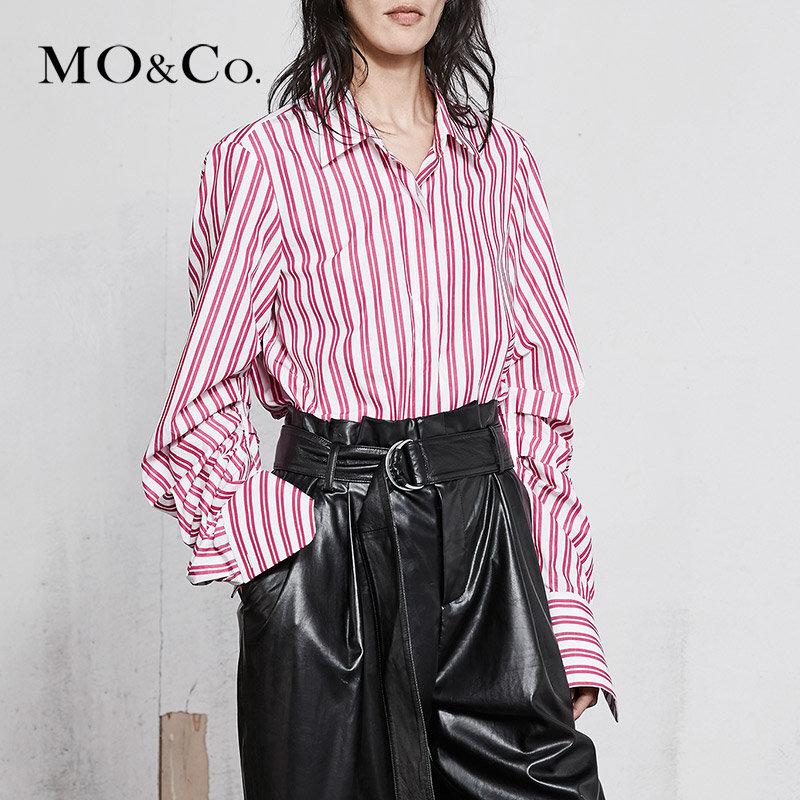 MOCO春季新品翻领抽褶袖条纹纯棉衬衫MA181SHT103 摩安珂 满399包邮 别致抽褶 柔软纯棉