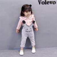 0女宝宝春装1岁半婴儿秋季衣服韩版2018新款女童背带裤两件套装3
