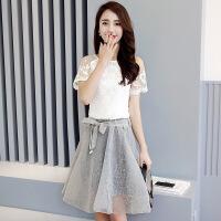蕾丝镂空透明修身纯色雪纺衫宽松网纱半身裙两件套