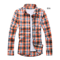 2018春季男式衬衣韩版修身磨毛格子长袖衬衫