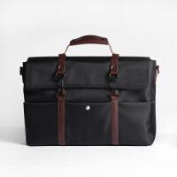 男士手提包休闲公文包帆布时尚潮男单肩包斜挎包商务包男包电脑包