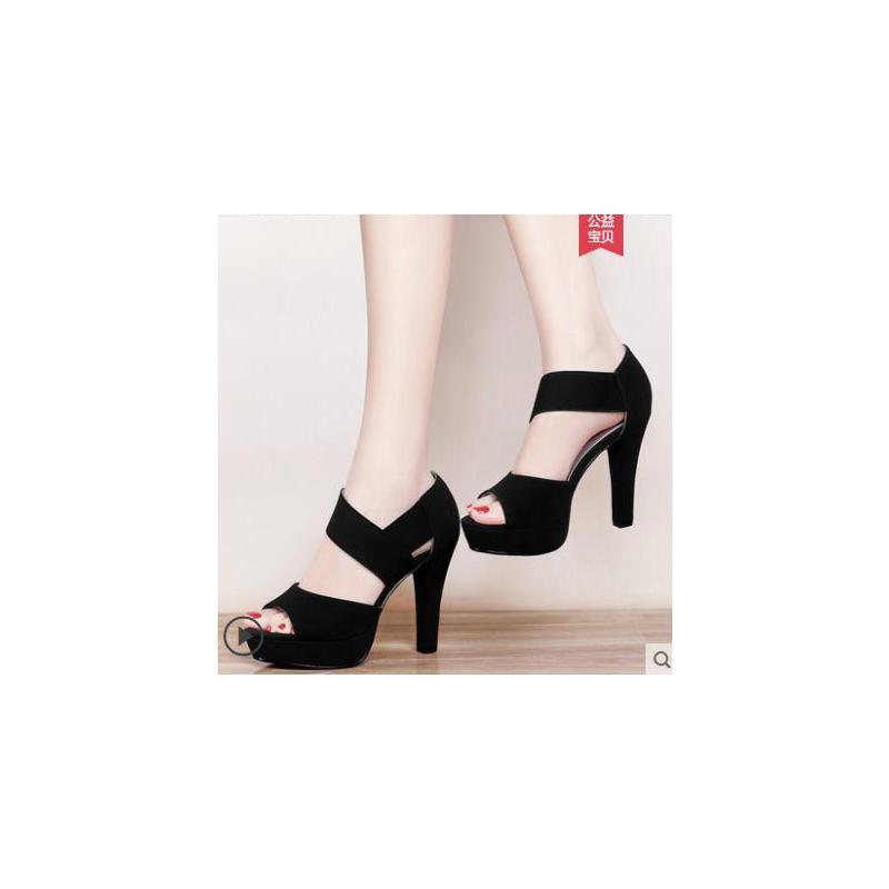 女士凉鞋户外新品新款鱼嘴鞋韩版百搭黑色女鞋子防水台细跟高跟鞋 品质保证 售后无忧
