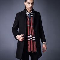 冬季羊毛大衣男中长款立领中年商务呢子修身加厚装妮外套风衣新款