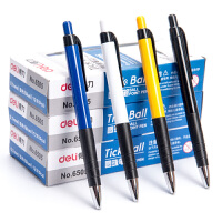 得力文具6505按动圆珠笔12支0.7mm学生办公蓝色圆珠笔原子笔