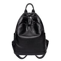 双肩包女包潮新款韩版百搭软皮背包休闲欧美时尚妈咪包包w 黑色