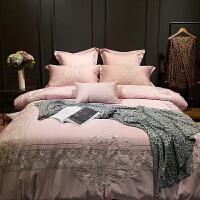�W式粉色�Y婚60支���L�q棉四件套床上用品六件套七件套