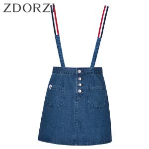 卓多姿夏装新款单排扣图案牛仔背带裙女734588