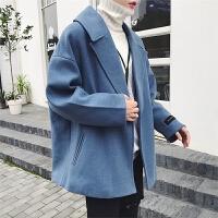 冬季新款韩版男生短款风衣 潮流加厚毛呢大衣学生ulzzang呢子外套