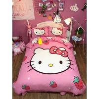 全棉四件套纯棉被套女孩床上用品儿童卡通三件套1.5m1.8m床单 乳白色 草莓 1.5m床 床笠款