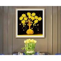 【品牌热卖】简单贴钻石画新款黄金满地十字绣客厅玄小幅发财树办公室装饰画