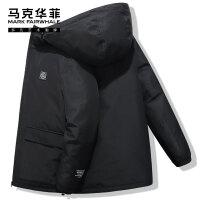 马克华菲羽绒服男2020冬季新款加厚短款黑色潮流帅气工装外套潮牌
