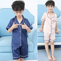 儿童睡衣薄款夏季男童家居服中大童宝宝男孩夏天套装