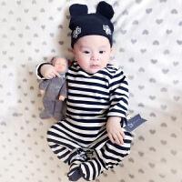 婴儿连体衣纯棉女宝宝0岁3个月春秋装新生儿衣服包脚哈衣夏季爬服