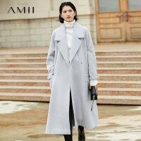 Amii拉风气场羊毛呢外套女2017冬装新大翻领插肩腰带宽松长大衣