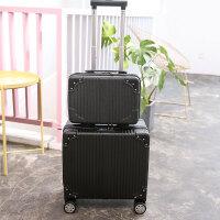 登机箱小型行李箱16小尺寸拉杆箱商务拖箱包旅行箱男女18密码箱子 黑色母子套 18寸