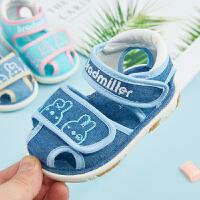 宝宝凉鞋夏季1-2-3岁软底婴儿包头学步鞋叫叫鞋