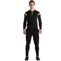 运动服饰儿童足球服长袖训练休闲比赛套装男女冬季户外运动跑步服速干吸汗透气 黑色 男