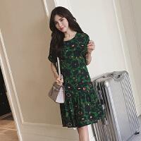 女装妈妈装胖mm200斤韩国甜美复古绿色花朵娃娃连衣裙