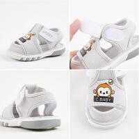 婴儿1-3岁男宝宝夏季布凉鞋0-2岁软底防滑女童学步鞋子