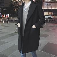 冬季新款毛呢大衣男加棉加厚中长款风衣韩版潮流青年宽松呢子外套