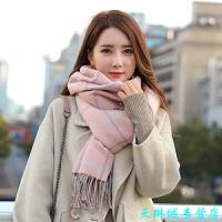 韩版毛线围巾女 冬冬季长款双面百搭学生格子披肩秋冬天保暖针织围脖