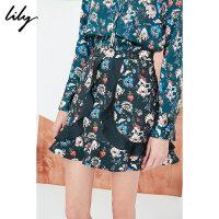 【此商品参加2件2折,预估到手109.8元】Lily春新款女装拼接荷叶边印花半裙A型显瘦短裙118130C6204