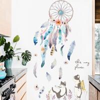 羽毛创意墙贴纸贴画卧室房间装饰品客厅浪漫温馨自粘墙纸 小猫和羽毛 大