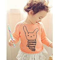 韩版女童毛衣套头卡通长袖春秋款儿童针织衫女童套头衫毛线衣圆领