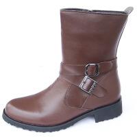 马靴男靴子高筒牛皮男长军靴工装靴 骑士牛皮靴韩版潮流马丁靴 深棕色