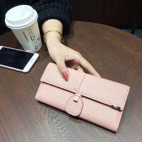 七夕礼物2018新款女士钱包欧美时尚三折长款女生搭扣钱夹多卡位手拿包女 肉粉色
