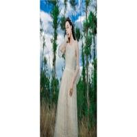 韩版高腰蕾丝连衣裙修身大摆海边度假沙滩长裙仙女 米白色