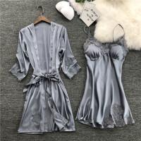 18夏性感吊带睡裙两件套女冰丝睡衣睡袍带胸垫家居服套装