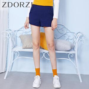 zdorzi卓多姿百搭时尚显瘦纯色纽扣短裤女832376