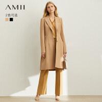 【预估价308元】Amii极简高贵气质西装风衣女2019秋季新款修身显瘦翻领中长外套