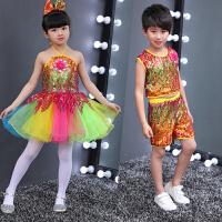 六一儿童新款演出服蓬蓬裙公主裙幼儿园舞蹈服亮片纱裙男女表演服