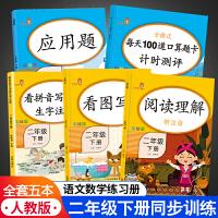 看拼音写词语二年级下册口算题卡 应用题 阅读理解训练看图写话语文数学人教版全套5本