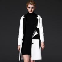女大衣2017女士冬装新款星星图案风衣外套女装 白色