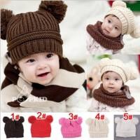 儿童秋冬帽纯色毛线帽 婴儿男女宝宝套头帽 双球球可爱帽子