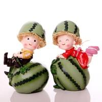 可爱居家里装饰品工艺品手工小摆件创意情侣西瓜太郎娃娃摆设礼品 西瓜娃娃一对