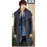 韩观秋冬季新款风衣男 韩版中长款呢子双排扣大衣修身潮男装毛呢外套