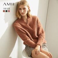 Amii极简慵懒洋气毛衣女2020秋冬新款仿貂绒宽松套头外穿V领上衣