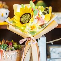 礼花束 母亲节礼物手捧花束装饰不织布手工布艺diy制作材料包 +灯