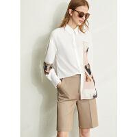 【到手价:140元】Amii设计感小众复古印花女士衬衫2020春装新款白色衬衣雪纺衫上衣