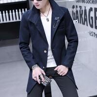 毛呢大衣男中长款风衣秋冬季呢子外套学生韩版修身帅气青年风衣潮